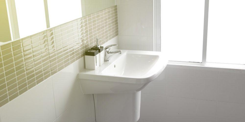 Modern white stone washbasin, White bathroom with sink